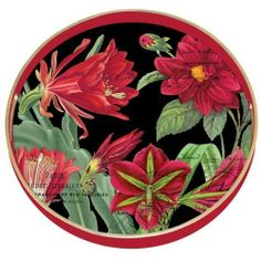 "Michel Design Works Fleur De Noel Round Wooden Tray by Michele Design Works. $35.70. Holiday blooms in brilliant green and red combine for a delicate Christmas theme. 14"" handmade round tray. Combine with Michel Design works coordinated soaps; lotions; journalsand trays to create a unique; personalized gift sure to be used and appreciated. Decoupage top; richly painted sidesand gold edges and non-slip rubber feet. Perfect for the kitchen; dining room; living room or be..."