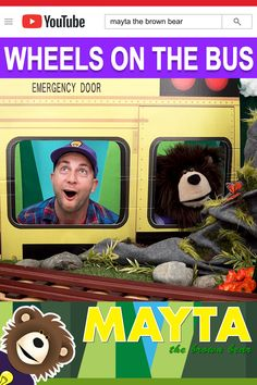 Does your kid love the popular nursery rhyme song Wheels on the Bus? Sing Wheels on the Bus with Mayta and B! Pinky The Boombox rolls in to play our music! Mayta The Brown Bear features educational learning videos for kids. Baby Learning Videos, Toddler Learning, Toddler Activities, Baby Songs, Kids Songs, Rhymes For Babies, Nursery Rhymes Songs, Wheels On The Bus, Boombox