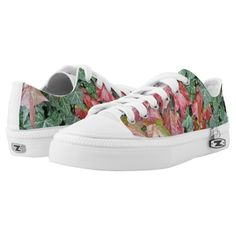 Beautiful autumn fall red green ivy leaves ZIPZ® Low-Top Sneakers shoes by #PLdesign #autumn #fall #leaves #FallLeaves #fashion