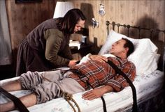 """Kathy Bates and James Caan in Misery"""" (1990) Kathy Bates - Best Actress Oscar (1990) funny how this movie popped into my head when I think of my stepmom taking care of my dad while he heals..."""