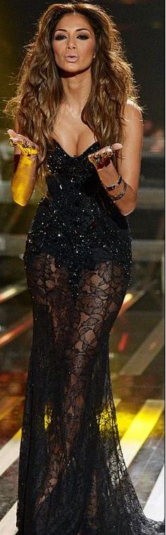 Nicole Scherzinger's black sequin sweetheart gown Dress by Michael Cinco