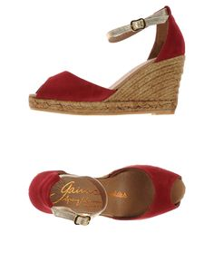 Red suede peep-toe wedge espadrilles by Gaimo Espadrilles. Available in a number of sizes at www.yoox.com.