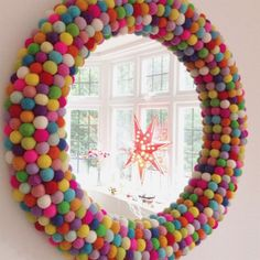 could this be the most colourful one of them all? Pom Pom Rainbow Wall Mirror ideen kinder Storage Ideas For Rooms And Children's Playgrounds - jihanshanum Rainbow Bedroom, Rainbow Wall, Rainbow Room Kids, Rainbow House, Colourful Bedroom, Rainbow Nursery Decor, Bright Nursery, Colorful Playroom, Colorful Interiors