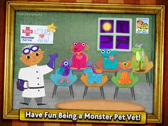 Monster Pets need love too! In this special Monster edition of the ever popular Tizzy Veterinarian, Tizzy Monster Pet Vet provides your child with 6 adorable Monster Pets to care for. Your little Veterinarian will help the Monsters feel better through imaginative mini-games and puzzles designed perfectly for children ages 2 - 6!