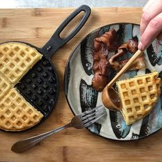 Waffles are just pancakes with maple syrup reservoirs A successful first go with the castiron waffle maker on the wood stove Cucumber Plant, Waffles, Pancakes, Grow Your Own Food, Maple Syrup, Veggies, Potatoes, Stove, Potato Towers