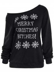 Christmas Snowflake and Letter Print Pullover Sweatshirt - BLACK