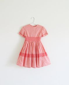 Vintage 1950's Red Smocked Young Girl's Picnic Dress by WeeBabyBug