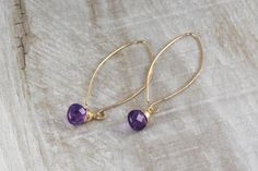 Long Drop Gold Curve Earrings with Gemstone