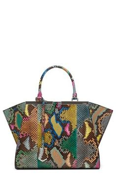 FENDI '3Jours' Multicolor Genuine Python Shopper. #fendi #bags #shoulder bags #hand bags #leather #lining