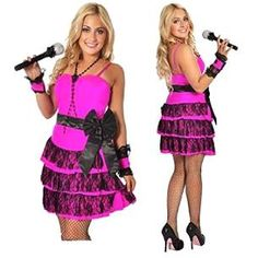 Madonna Material Girl Costume inc. pink layered dress with lace, black waist bow and hot pink cuff