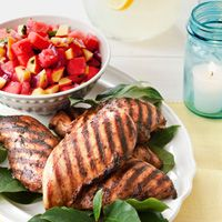 Coffee-Spice Chicken and Fruit-Basil Salsa