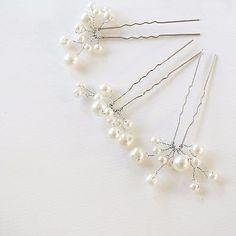 5 Bridal Hair Pins, Pearl Pins Barrettes, Pearl Cluster Wedding Hair Accessories