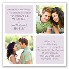 This contemporary #wedding #invitation puts the focus on you and your big day! The square invitation features rounded corners for a modern finish. Invitations by David's Bridal Style Window of Love in Wisteria.