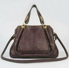 Chloe Handbags,Chloe Paraty Snake Veins Handbags 50895 Red Brown (Small)-$