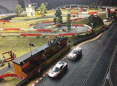 Scalextric slot car set, with scenery. Slot Car Race Track, Slot Car Sets, Slot Car Racing, Slot Car Tracks, Slot Cars, Scalextric Track, City Model, Diorama, F1