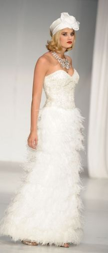 "feather skirt - david tutera by faviana ""diane"" gown...wow...show stopper."