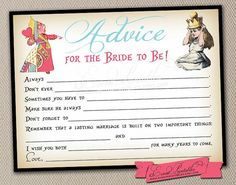 Printable DIY Alice in Wonderland Mad Libs, Bridal Shower Game, Advice for the Bride, Queen of Hearts, INSTANT DOWNLOAD by Event Printables on Etsy, $15.00