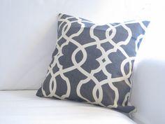 Steel Grey Neutral Trellis Lattice Pillow Cover by FineFreshDesign