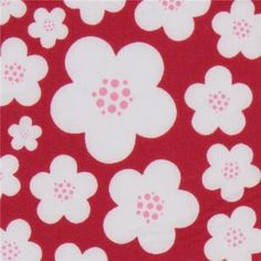 Michael Miller knit fabric Red Blossoms by Patty Young  beautiful dark pink fabric with white-pink flowers by Patty Young from the USA