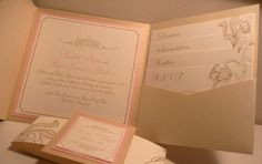 Pink Champagne pocketfold wedding invitation with flouright (PinkOrchidInvites etsy shop)