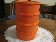 vintage Set Of Four Tangerine Orange Tupperware Stacking Canisters 1970 Tupperware Canisters, Rare Pyrex, Cabbage Patch Kids, Home Gadgets, Vintage Roses, Casserole Dishes, Tea Pots, Household, Orange