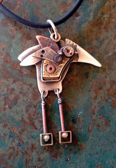 Mechanical BIRD pendant, watch parts sterling copper gold pearls