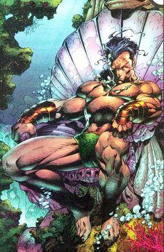 Jim Lee's art captures the King of Atlantis in Marvel Comics - Namor the Submariner. Más