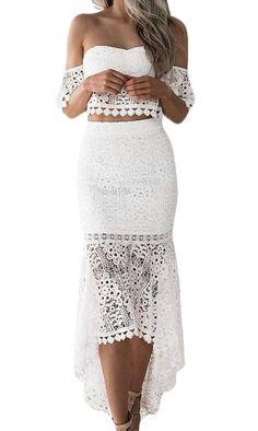 CRYYU Women Lace Crop Top Tube Tops Asymmetrical 2PCS Pencil Backless Midi Skirt