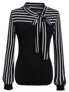 online shopping for Zeagoo Ladies Tie-bow Neck Striped Long Sleeve Splicing Autumn Shirt from top store. See new offer for Zeagoo Ladies Tie-bow Neck Striped Long Sleeve Splicing Autumn Shirt Striped Long Sleeve Shirt, Long Sleeve Tops, Long Sleeve Shirts, Striped Shirts, Tie Neck Blouse, Long Blouse, Neck Ties, Collar Blouse, Wrap Blouse