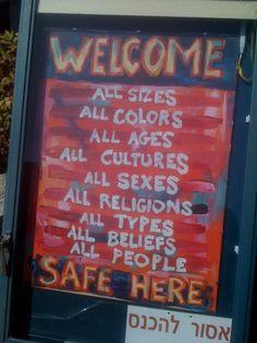 a sign at a restaurant in Haifa, Israel...how refreshing