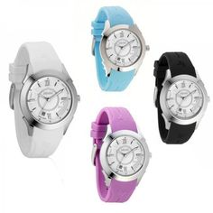 Womens Watch Le Bebe' Silicone Coloured Swiss Made White Black Lilac Blue Bebč