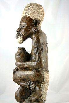 "African Shona Sculpture Elder Serpentine Stone 14""H X 5""W Vintage Zimbabwe Art - culturesinternational  - 1"