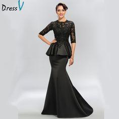 2643af41a09d On Sale Outstanding Black Prom Dress Half Sleeves Appliques Sequins Long  Prom Dresses Evening Dresses