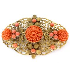 Vintage Czech Ornate Chrysanthemum Carved Coral Glass Gold Filigree Pin Brooch | Clarice Jewellery | Vintage Jewellery | Vintage Costume Jewellery