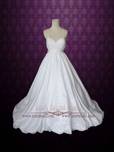 Empire Waist A-line Wedding Dress with Thin Straps and Crossed Low Bac   Ieie's Bridal Dress Boutique