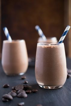 This thick and creamy breakfast smoothie is made with cocoa powder, Greek yogurt and instant espresso powder to create the ultimate smoothie recipe.