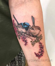 Cute little pair of Australian Superb Fairy Wrens with native flowers, forearm tattoo by Kylie Wild Heslop, Canberra, Australia based tattoo artist Pair Tattoos, Forearm Tattoos, Love Tattoos, Body Art Tattoos, Tatoos, Mundo Tattoo, Botanisches Tattoo, Wild Tattoo, Mandala Tattoo