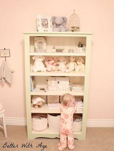 baby girl s nursery, bedroom ideas, home decor, Painted bookshelf