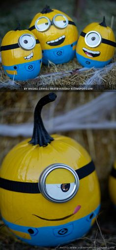 #Pumpkin #minion #artbyangeli                                                                                                                                                     More Diy Minion Costume, Minion Halloween Costumes, Halloween House, Halloween 2016, Halloween Kids, Halloween Pumpkins, Holidays Halloween, Halloween Crafts, Fall Pumpkins