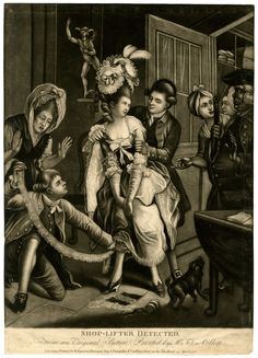 Two men removing items from a young woman who has been shop-lifting and hidden lace and other things about her person, while another woman on the left throws up her hands in horror, and two more by the door on the right speak to the watchman; a statue of Mercury on a niche in the background; after Collett.  25 April 1778 Mezzotint with some etching