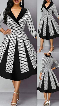 Polka Dot Print Three Quarter Sleeve Button Detail Dress - New Site Elegant Dresses For Women, Stylish Dresses, Pretty Dresses, Beautiful Dresses, Frock Fashion, Women's Fashion Dresses, Outfits Dress, Fashion Fashion, Seshweshwe Dresses