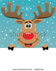 vector xmas illustration of happy Reindeer deer holding blank paper for your text