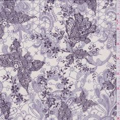 Ivory/Purple Floral Stretch Mesh - 31237 - Discount Fabrics