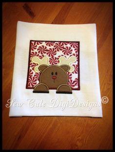Square Border Reindeer Applique Design by SewCuteDigiDesigns