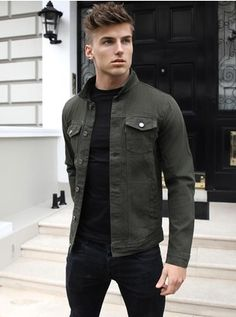 Mens > Denim > The Alberta Stylish Mens Outfits, Casual Outfits, Men Casual, Winter Outfits Men, Smart Casual, Dope Fashion, Mens Fashion Suits, Teenage Boy Fashion, Denim Jacket Men
