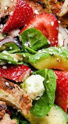 Strawberry Avocado Spinach Salad with Chicken