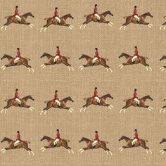Equestrian Horse Fabric - Hunters On Linen By Ragan - Equestrian Cotton Fabric By The Metre by Spoonflower Equestrian Decor, Equestrian Boots, Equestrian Outfits, Equestrian Style, Equestrian Fashion, Equestrian Bedroom, Equestrian Shop, Horse Fashion, Cowgirl Boots