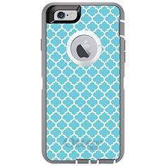 "CUSTOM Grey / White OtterBox Defender Series Case for Apple iPhone 6 PLUS - 5.5"" - Blue White Moroccan Lattice ChargersAndCases http://www.amazon.com/dp/B00WKOKCYS/ref=cm_sw_r_pi_dp_DFivwb0T1B55Q"