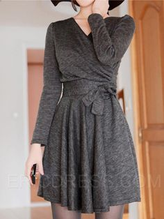 Ericdress Lace-Up Long Sleeve Casual Dress Casual Dresses