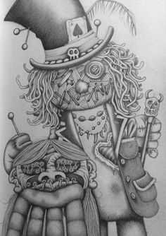 Voodoo Doll/ Witchdoctor with shrunken head! Drawing sketch art funny humour cartoon b&w scary magik Magic  Or ... Oops don't lose your head!